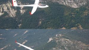 Andrea Balzi mit seiner ASW 27 B über den französischen Alpen, fotografiert aus dem Discus von Francesco Senatore.