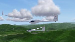"""""""Joost van Veelen"""" und """"Fransois Seijffert"""" während eines Condor-Simulatorfluges mit ihren ASG 29 über den Ostalpen."""