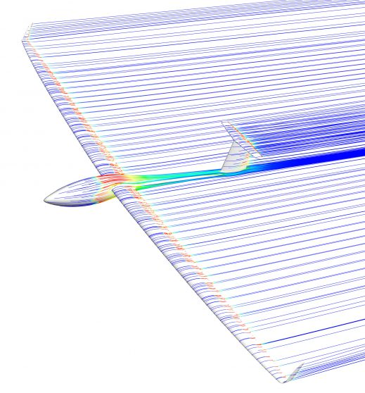 Streamlines over the AS 33, calculated by ANSYS CFD software